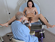 Di Devi, 35 years. Hairy MILF gyno exam with pressure, measurements, anal and vaginal exam, ultrasound, two speculums and vibrator orgasm stethoscope.