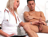 Hot legs Euro MILF doctor Bruna gets cum on tits