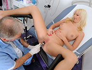 Bella Morgan, 26 years. Checkup with anal smear, two fingers anal exam exam, enema, gyno-chair piss, wet orgasm heartbeat and suppository