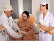 Beautiful Russian girl deep inspection at the dreaded gynecologist