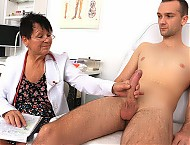 Big natural boobs doctor gilf Elma prostate exam
