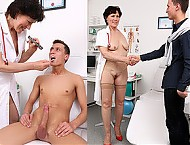 Elder female doctor Mila big cock boy handjob