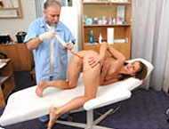Kristina, 20 years girl gyno exam. Checkup with Feet exam, anal beads, thermometers, anal and vaginal exam, enema, two speculums, suppository and electrotherapy heartbeat!