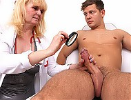 Elder uniform lady Saskia cfnm big dick boy handjob
