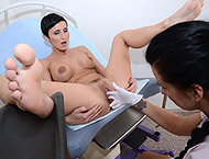 Gabrielle, 28 years girl gyno exam. Checkup with anal thermometer, feet exam, anal exam, enema, vaginal depth, ultrasound,  frenulum, electro-therapy orgasm heartbeat, tampon and suppository!