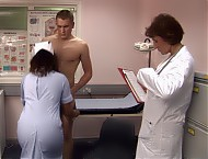 Declan wasn't expecting to have to strip down to his underpants and stand there in the busy waiting room of the doctor's surgery. But the fierce receptionist doesn't seem like the kind of woman to cross. He is aware of two housewives from the village openly staring at him and is becoming increasingly tense. He's then ushered into the doctor's office where his pants are taken away leaving his cock and balls totally exposed for inspection.