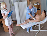 Jessica, 30 years old MILF. Gyno exam by doctor and nurse. Inspection with both holes exam, enema, two speculums and wet orgasm sthetoscope